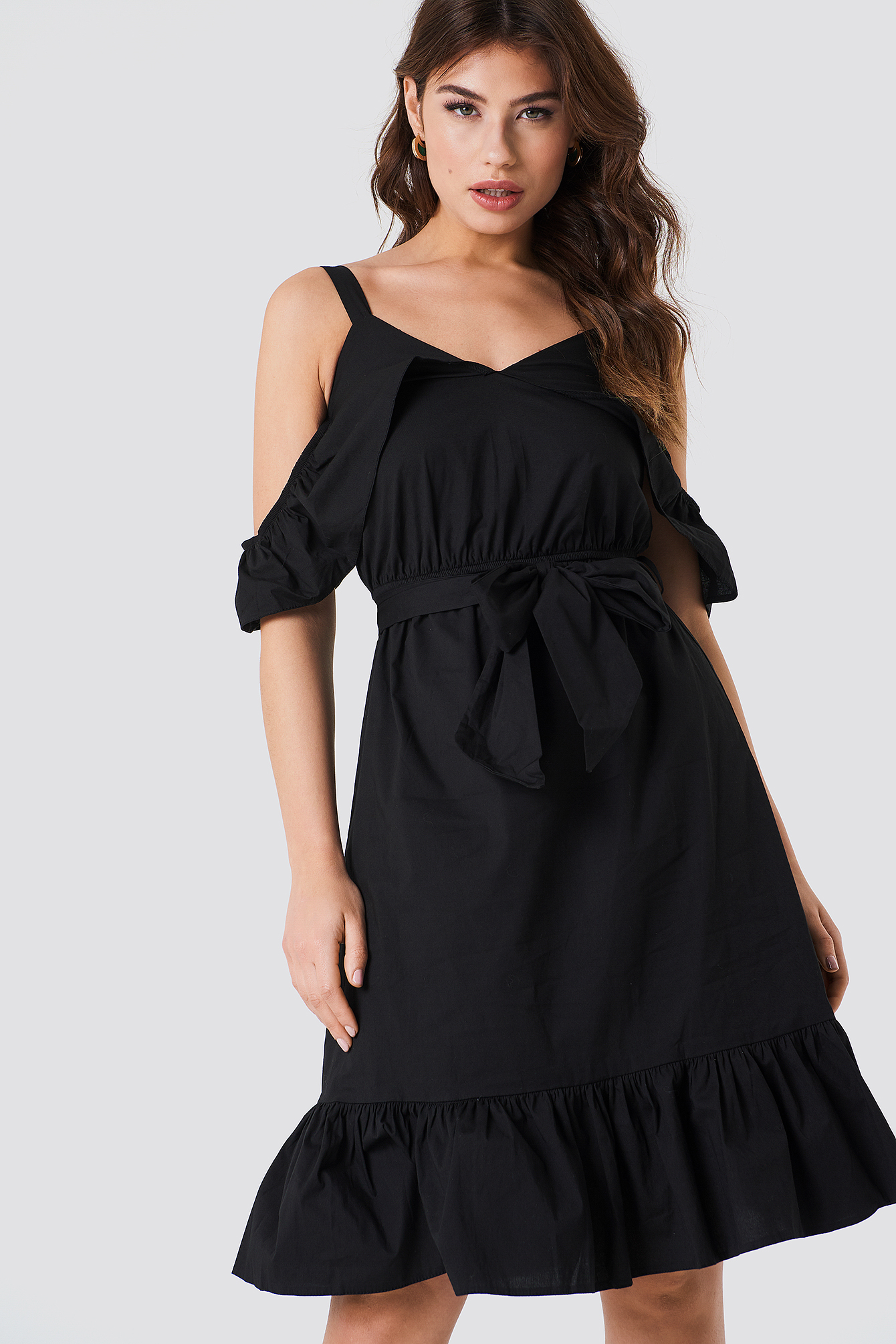 Siyah Frill Sheer Dress NA-KD.COM