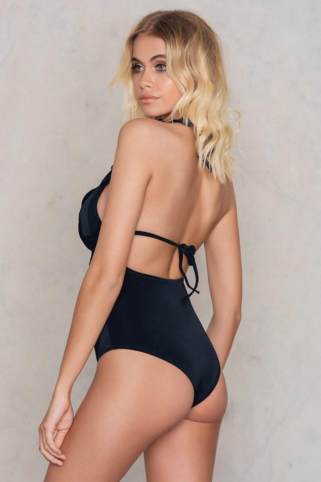 Siyah Frill Swimsuit Black