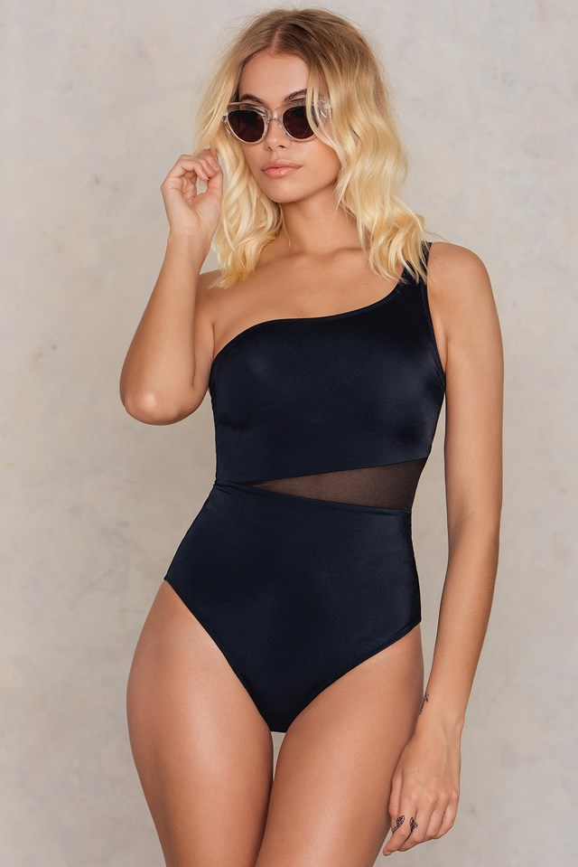 Siyah One Shoulder Swimsuit Black