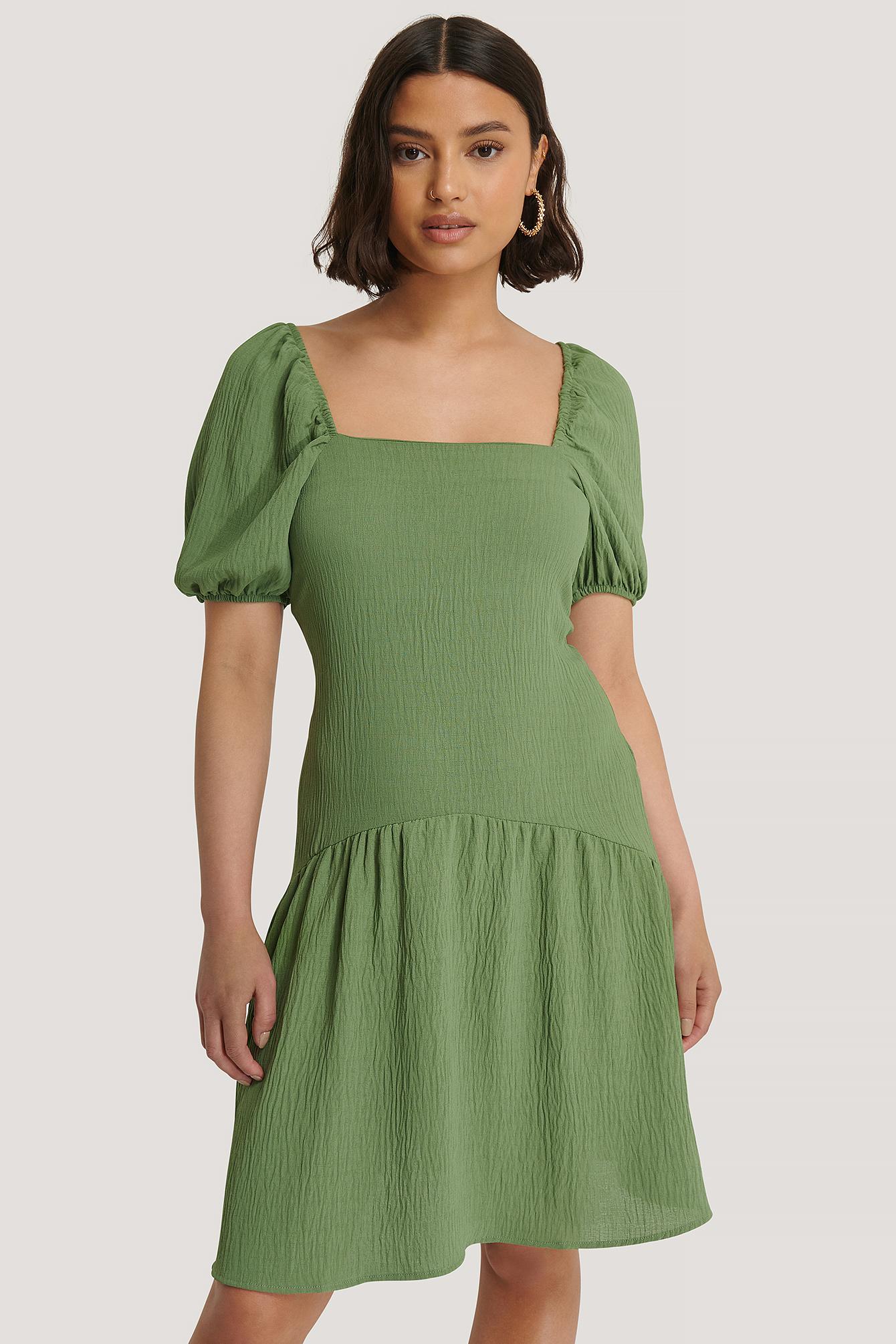 trendyol -  Kleid Mit Puffärmeln Und Eckigem Ausschnitt - Green