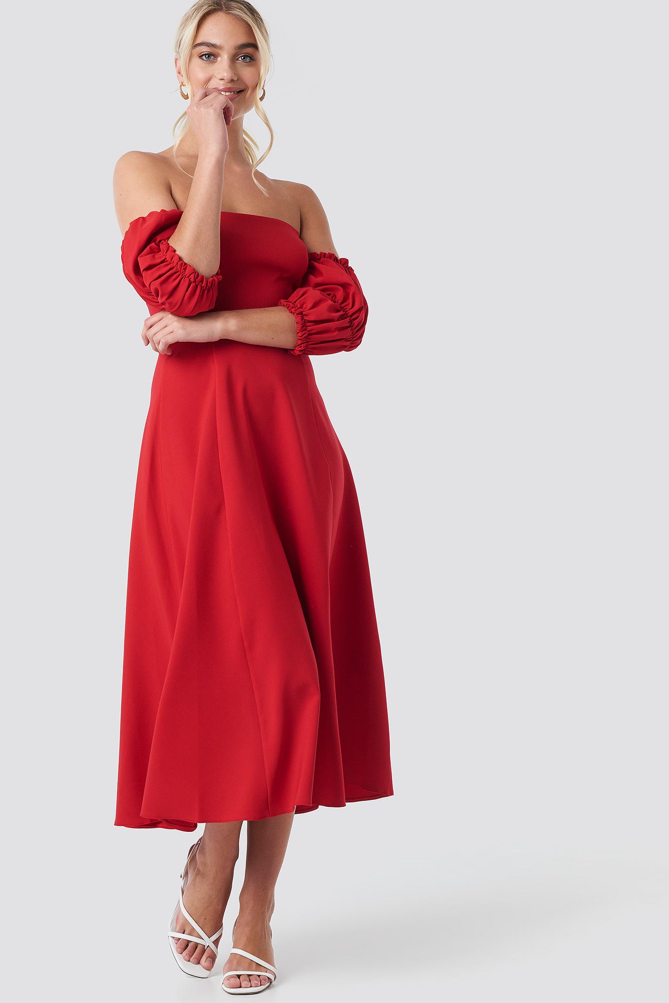 Sleeve Detail Midi Dress NA-KD.COM