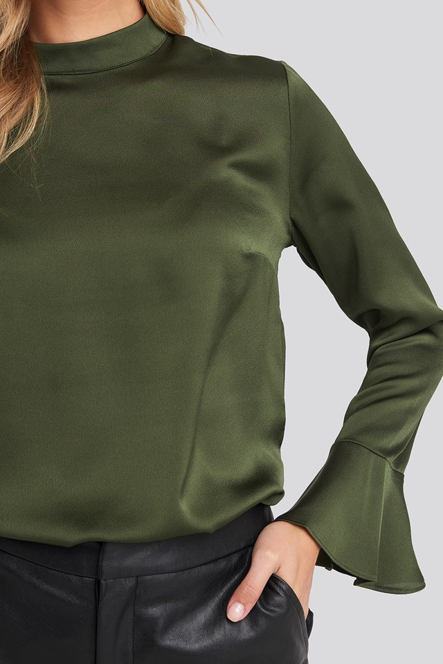 Sleeve Detailed Blouse Khaki