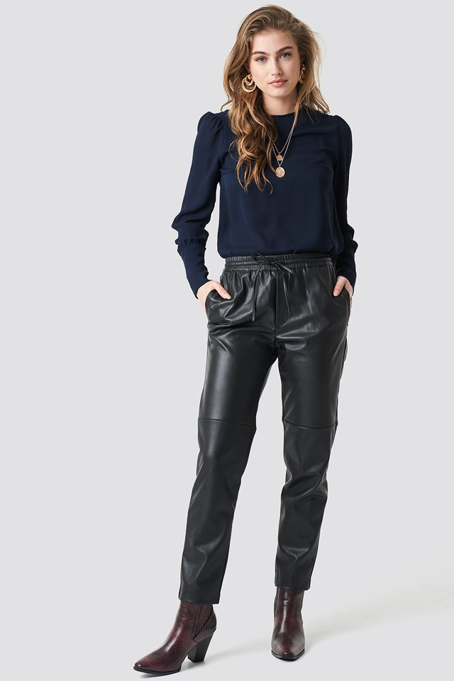Sleeve Detailed Blouse Navy