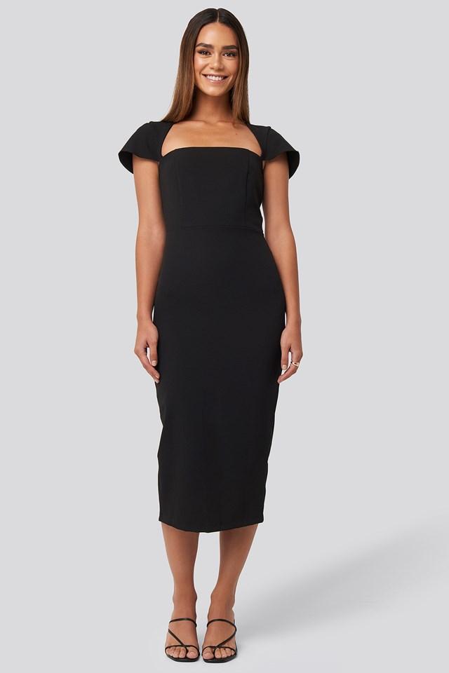 Sleeve Detailed Midi Dress Black