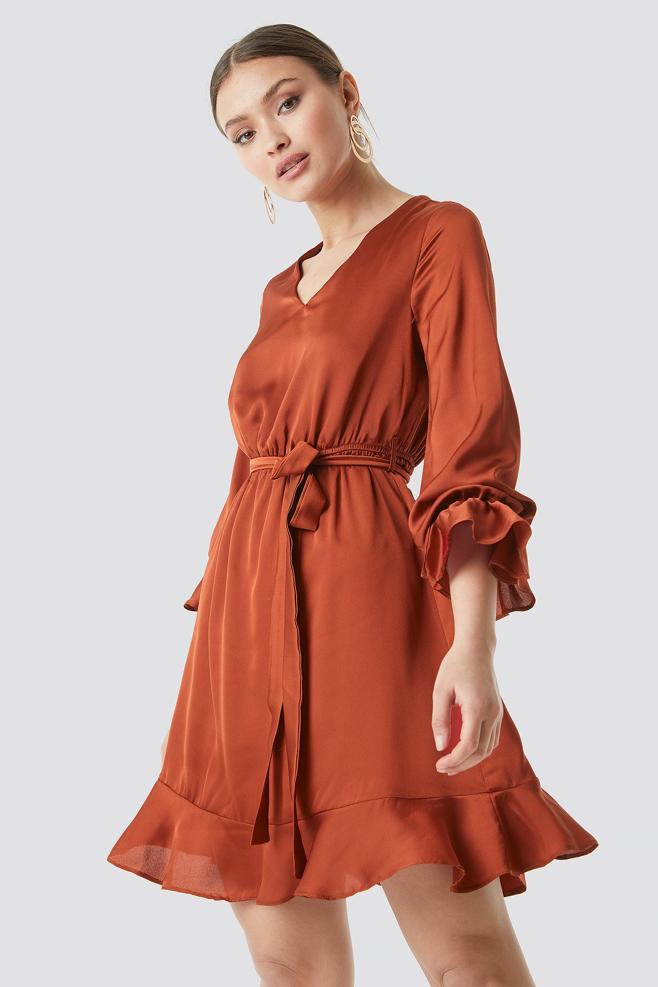 Sleeve Frilled Midi Dress NA-KD.COM
