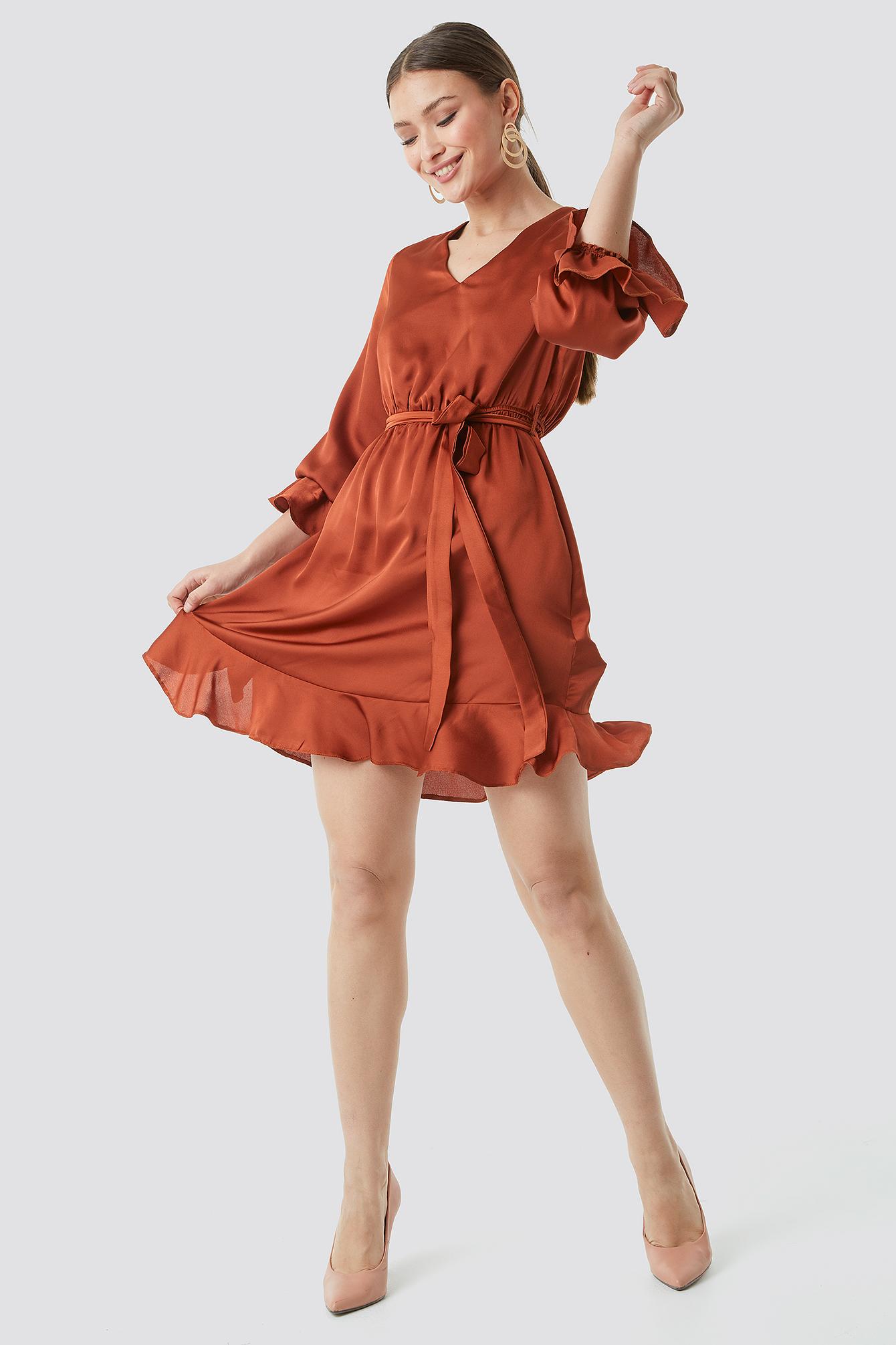 Sleeve Frilled Midi Dress NA-KD.COM