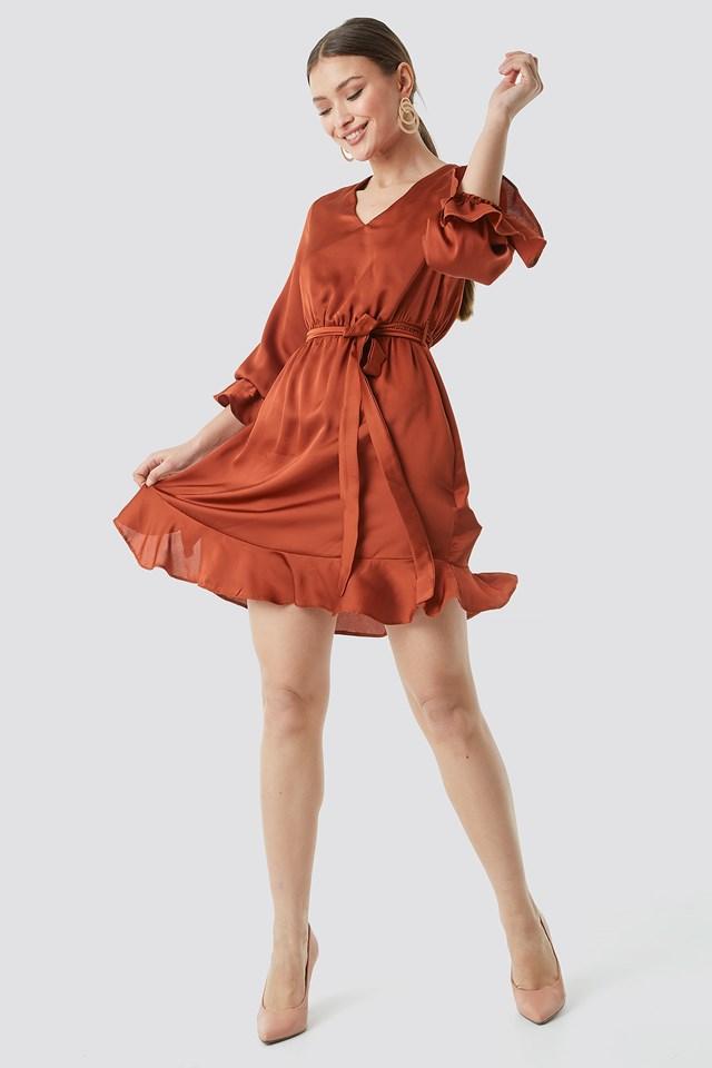 Sleeve Frilled Midi Dress Brick