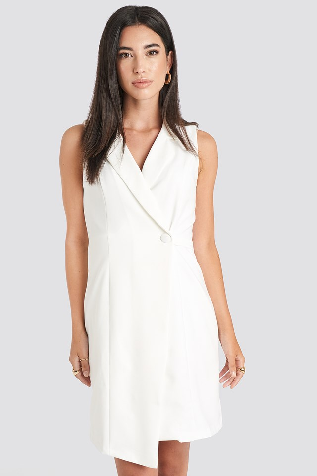 Sleeveless Blazer Dress White