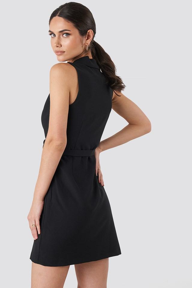 Sleeveless Blazer Dress Black