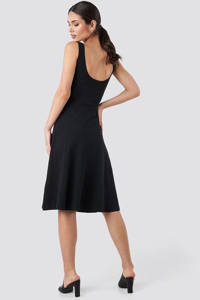 Sleeveless Jersey Midi Dress Black