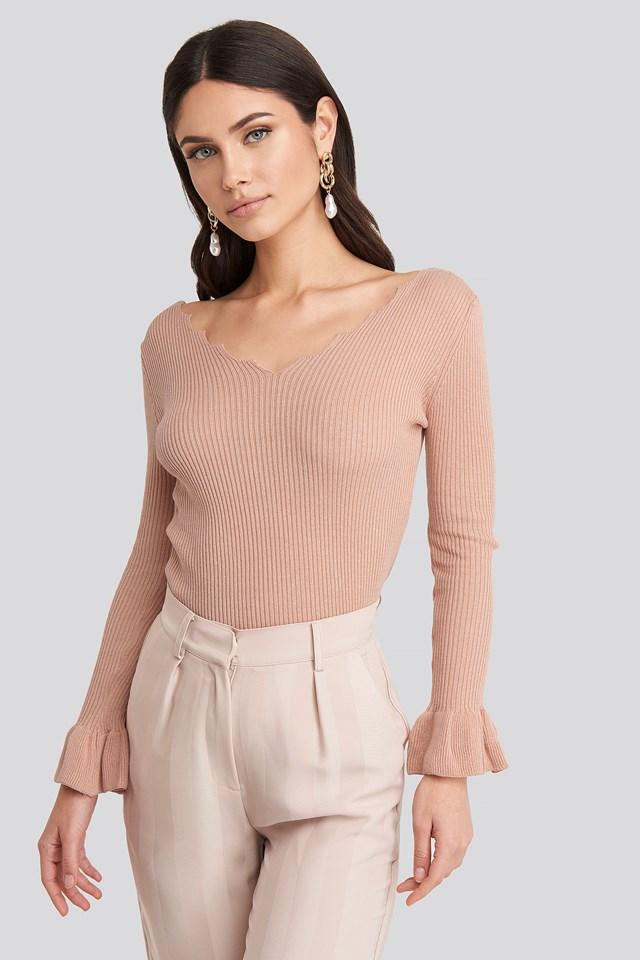 Sleeves Flywheel Ribbed Top Powder Pink