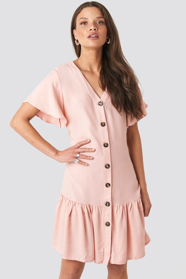Sleeves Flywheel Shirt Dress Powder Pink