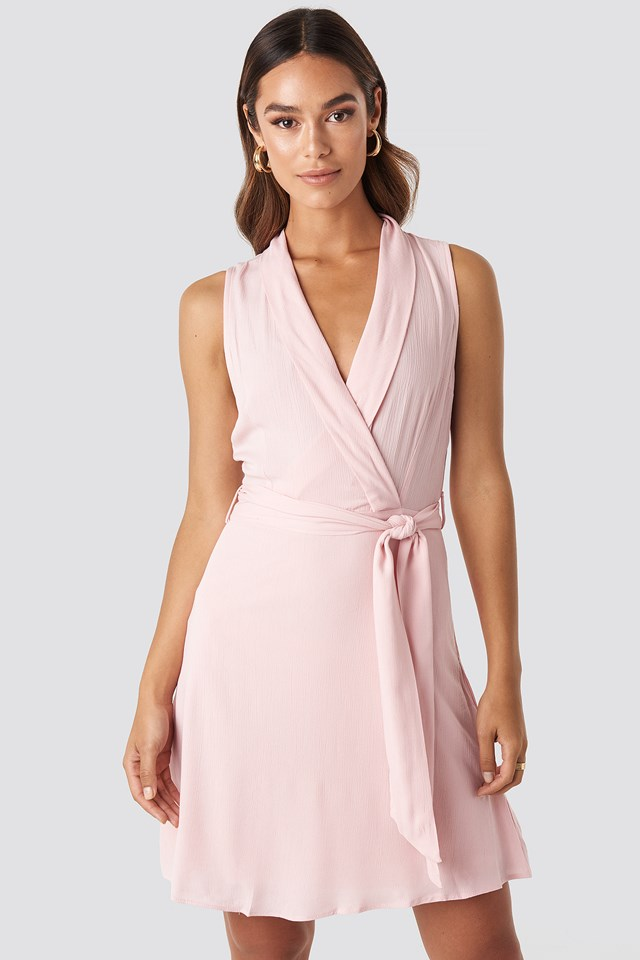 Sleveless Wrap Mini Dress Powder Pink
