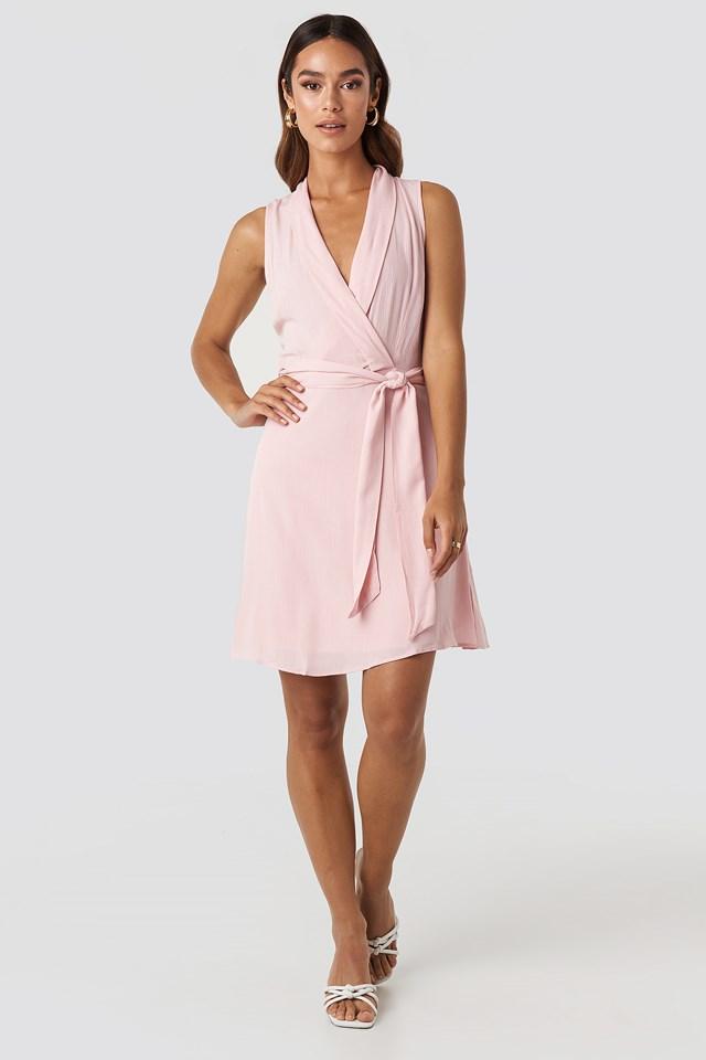 Sleveless Wrap Mini Dress Powder Pink