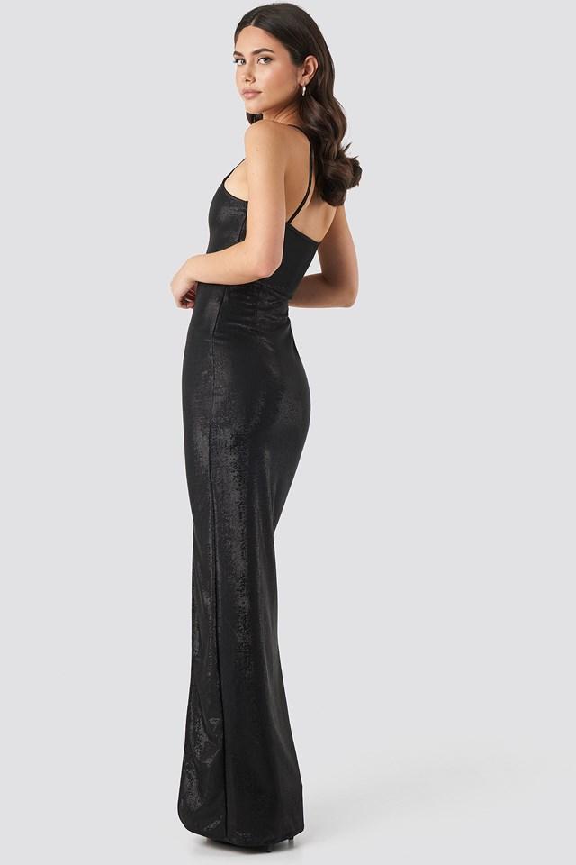 Slit Detail Evening Dress Black
