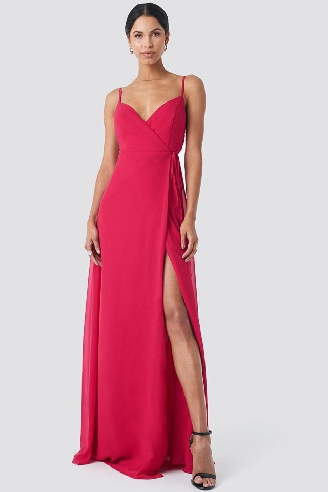 Slit Evening Dress Fuchsia