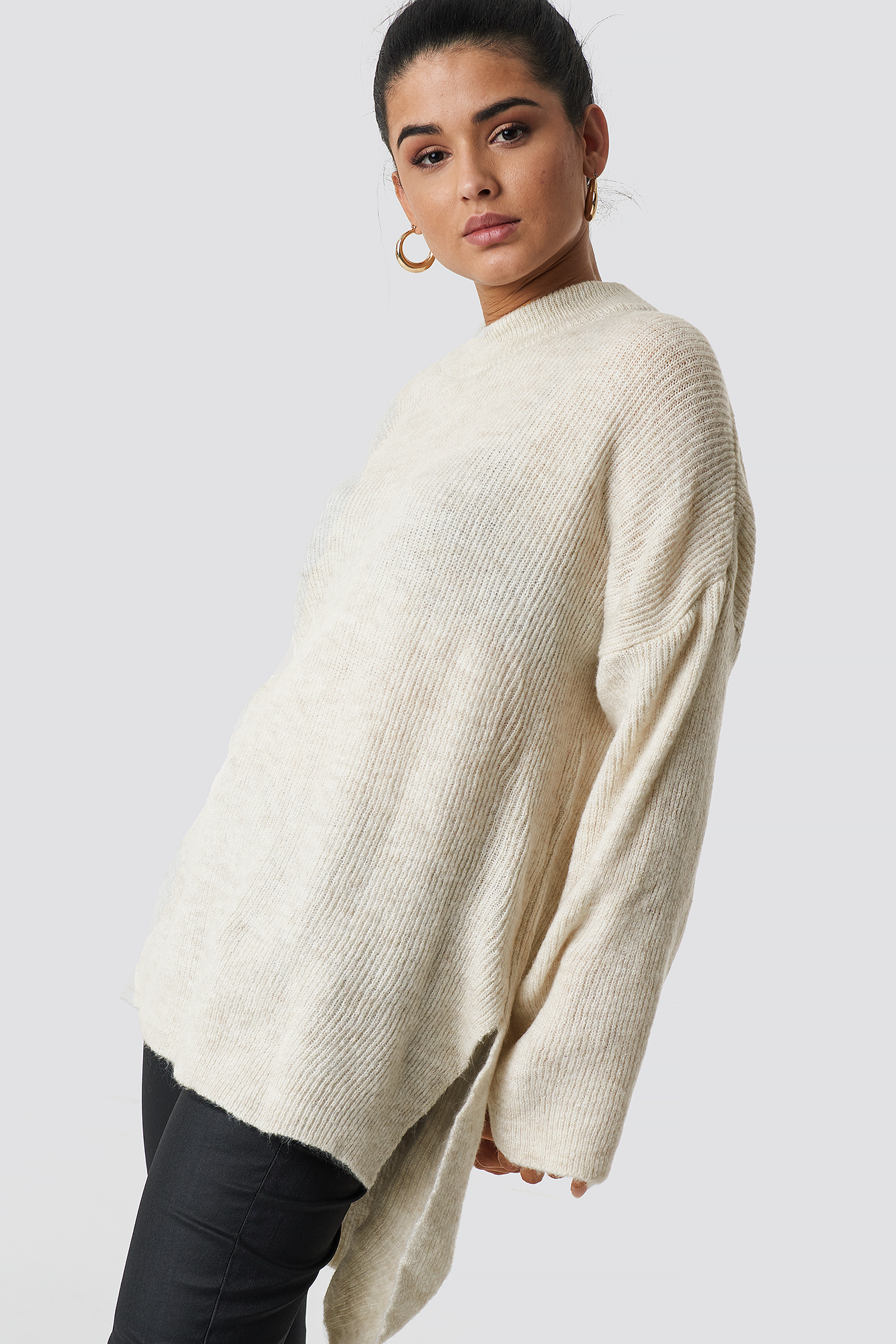 trendyol -  Slit Knitted Jumper - Beige