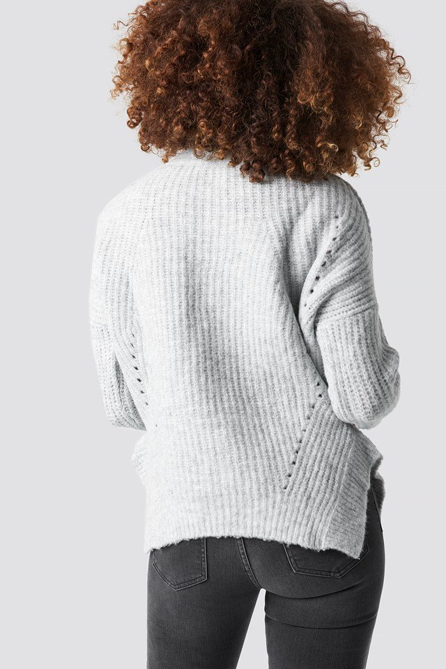 Slit Knitted Sweater Gray
