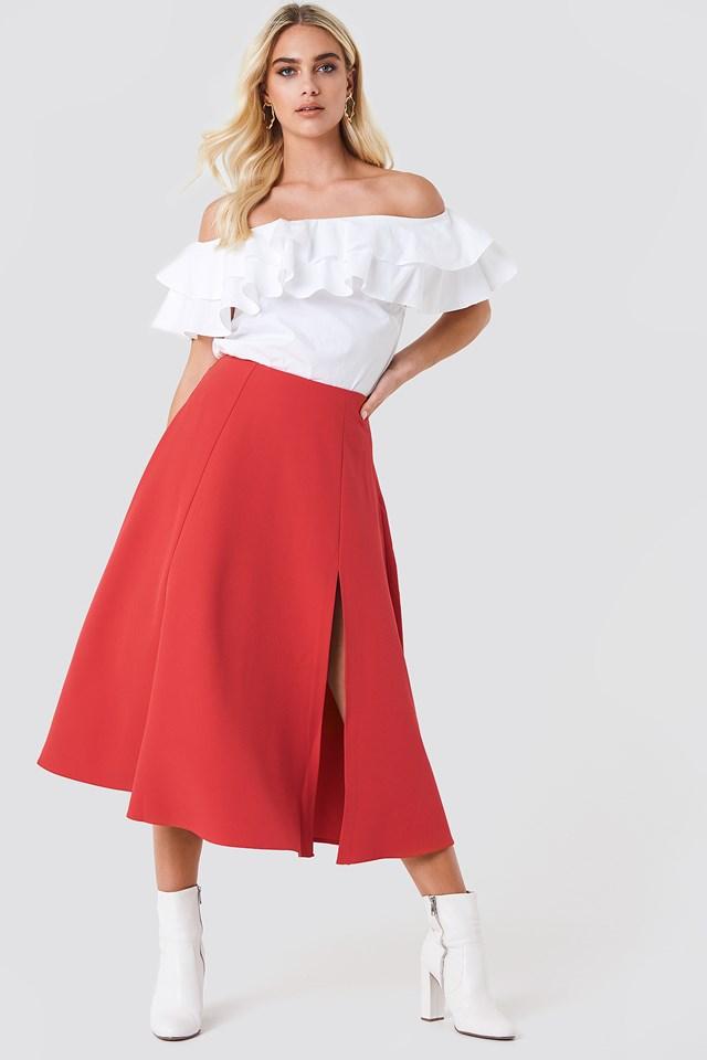 Slit Midi Skirt Red