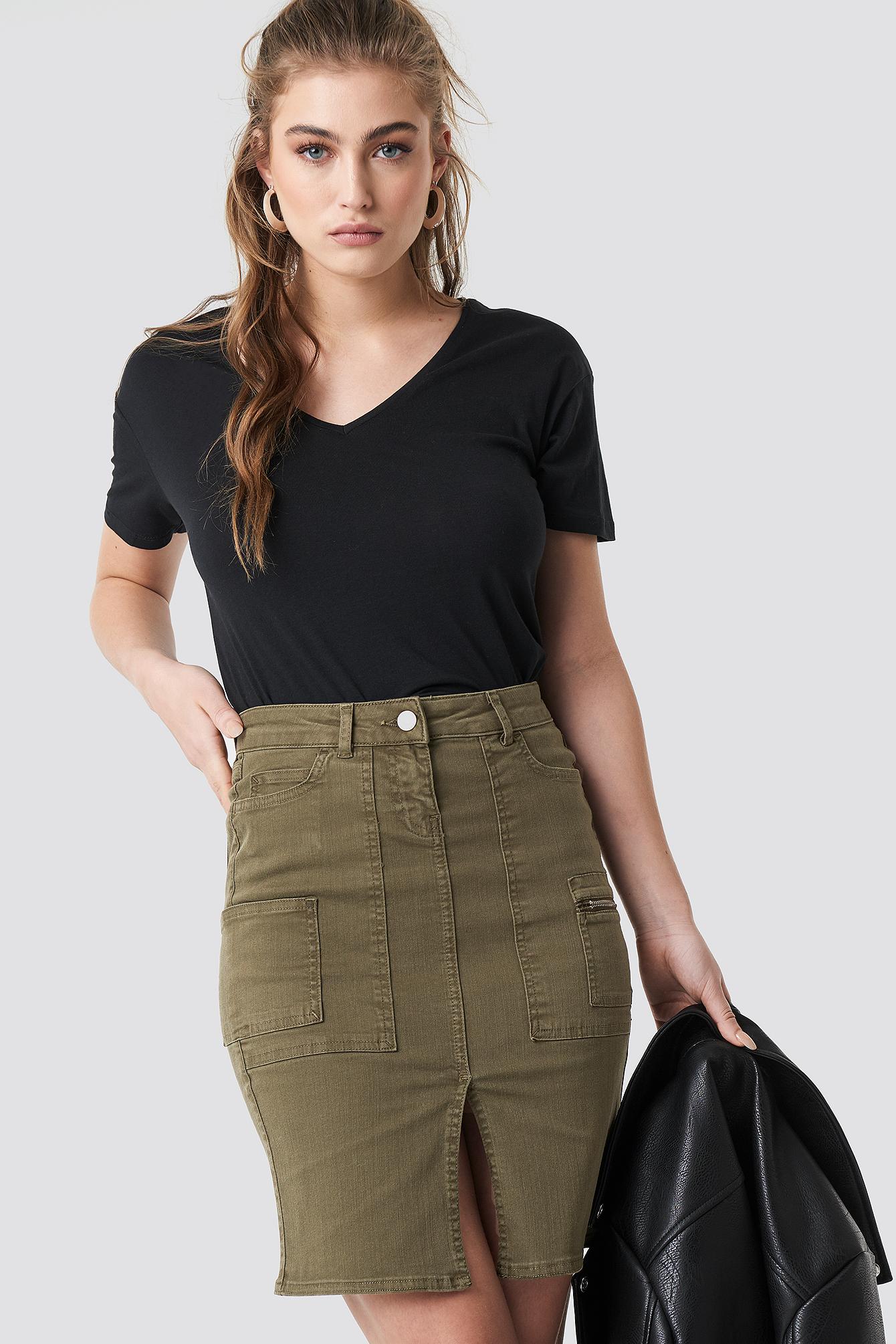 trendyol -  Slit Midi Skirt - Green