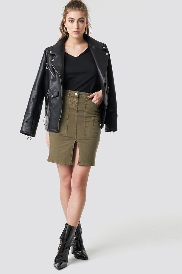 Slit Midi Skirt Khaki