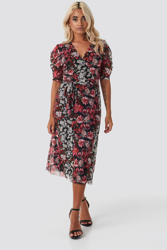 Smooth Flower Midi Dress Burgundy