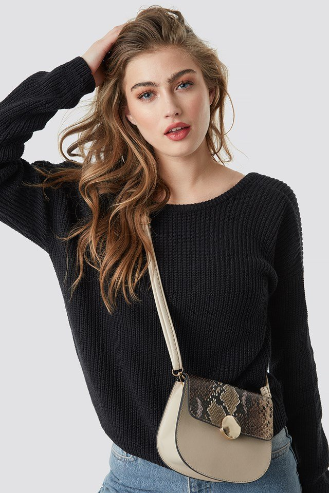 Snake Detailed Shoulder Bag Beige