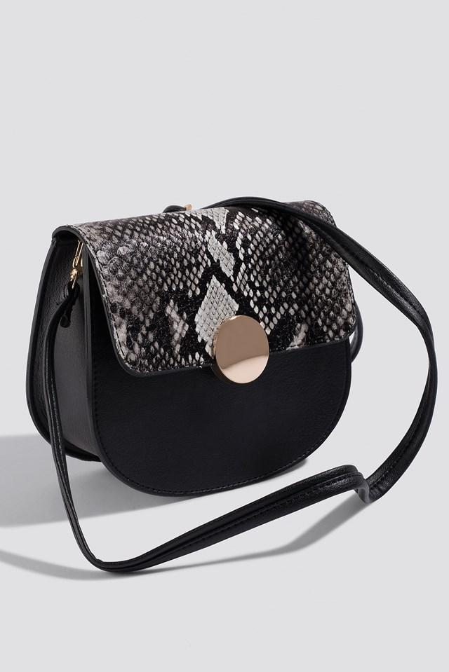 Snake Detailed Shoulder Bag Black