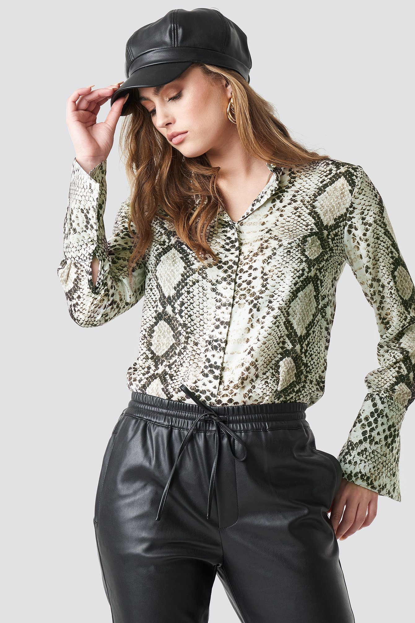 trendyol -  Snake Patterned Shirt - Multicolor