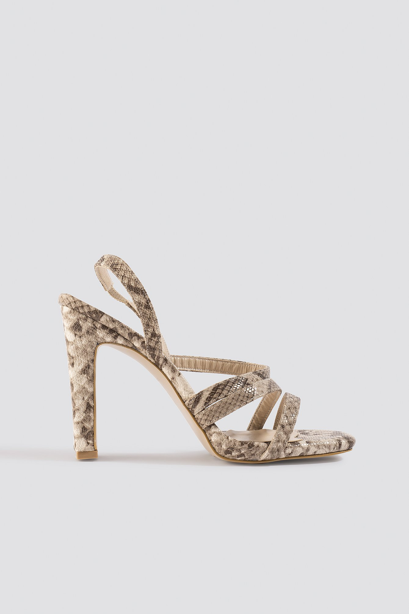 trendyol -  Snake Pattern High Heels - Beige