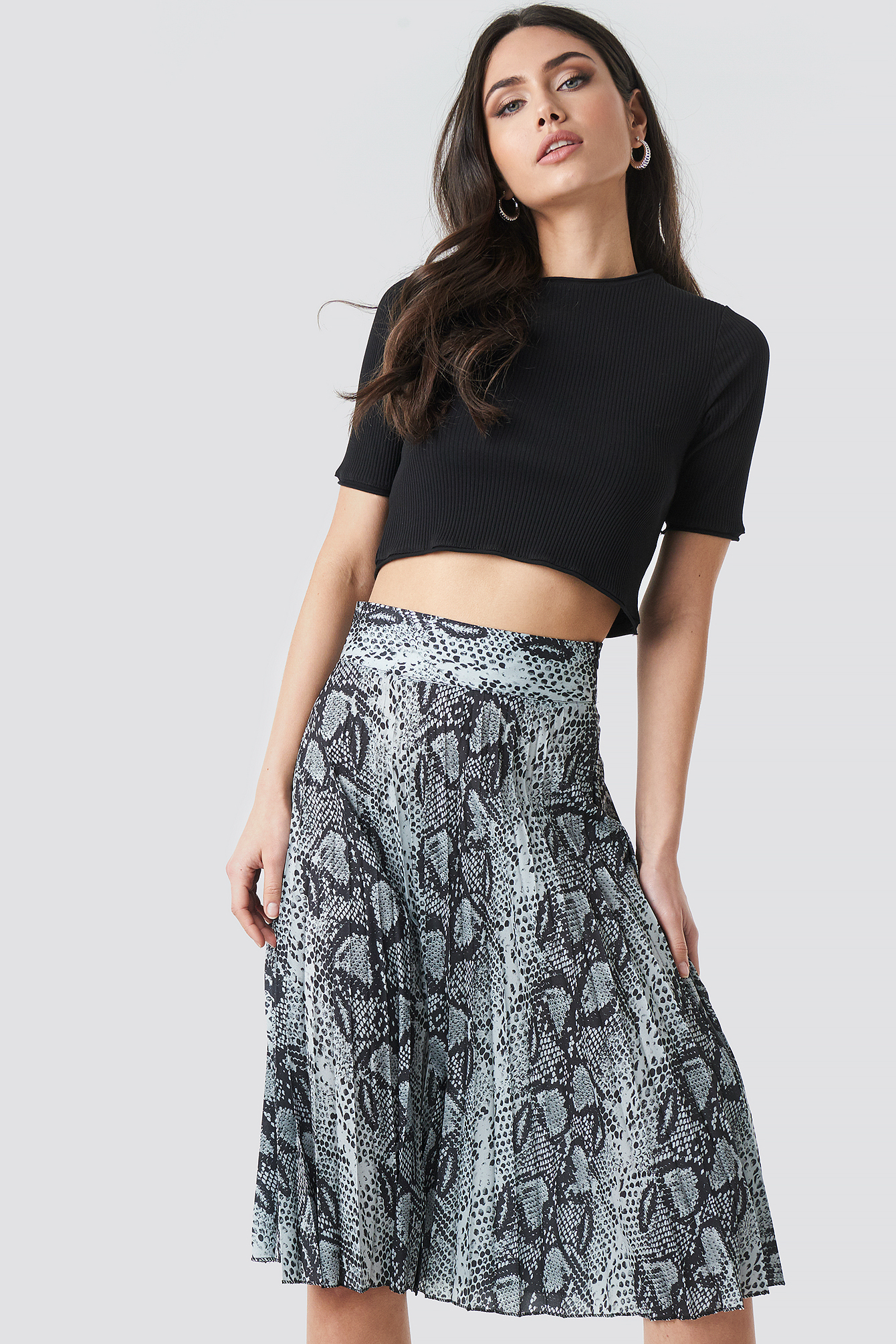 Snake Pattern Pleated Skirt NA-KD.COM