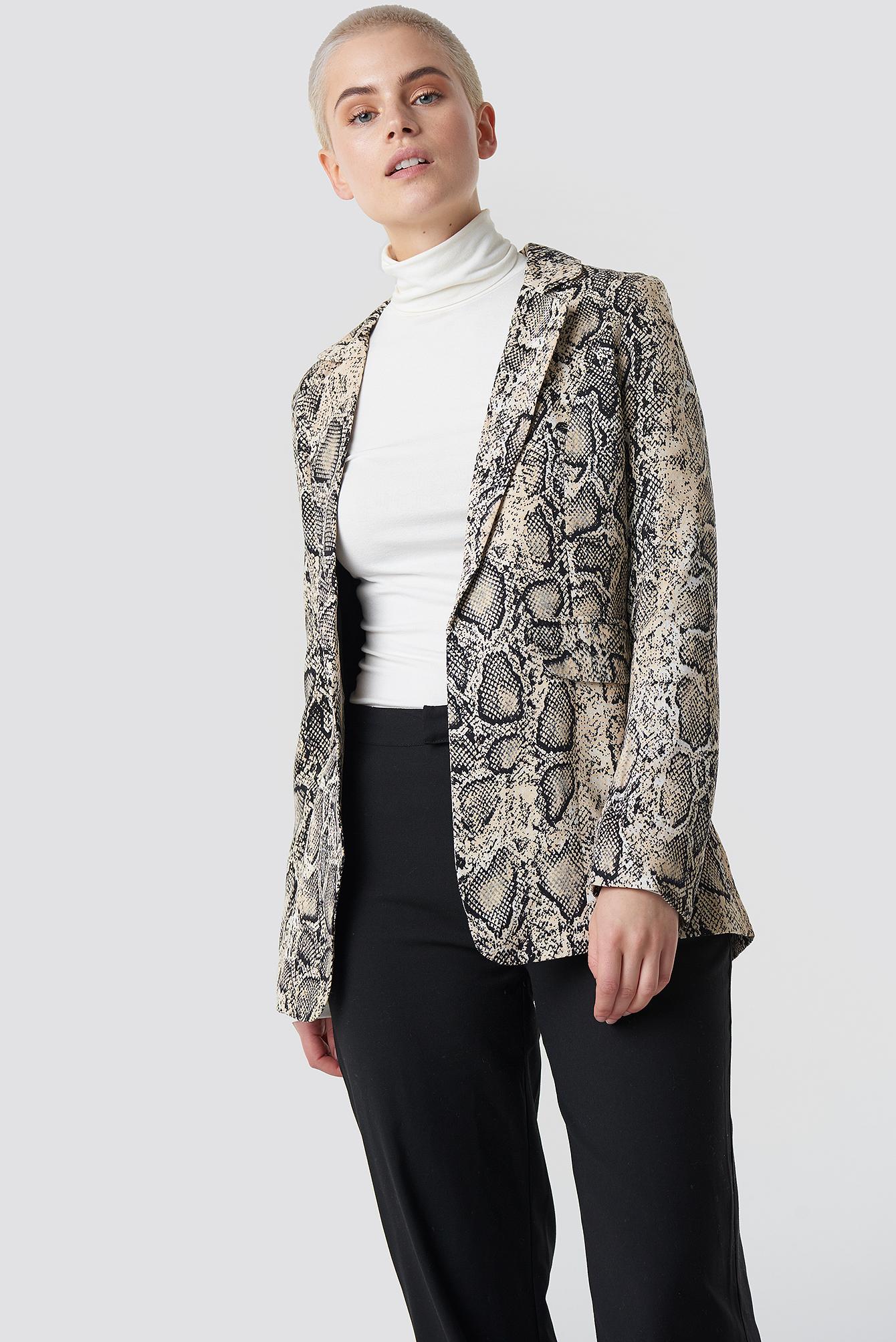 trendyol -  Snake Patterned Blazer - Multicolor