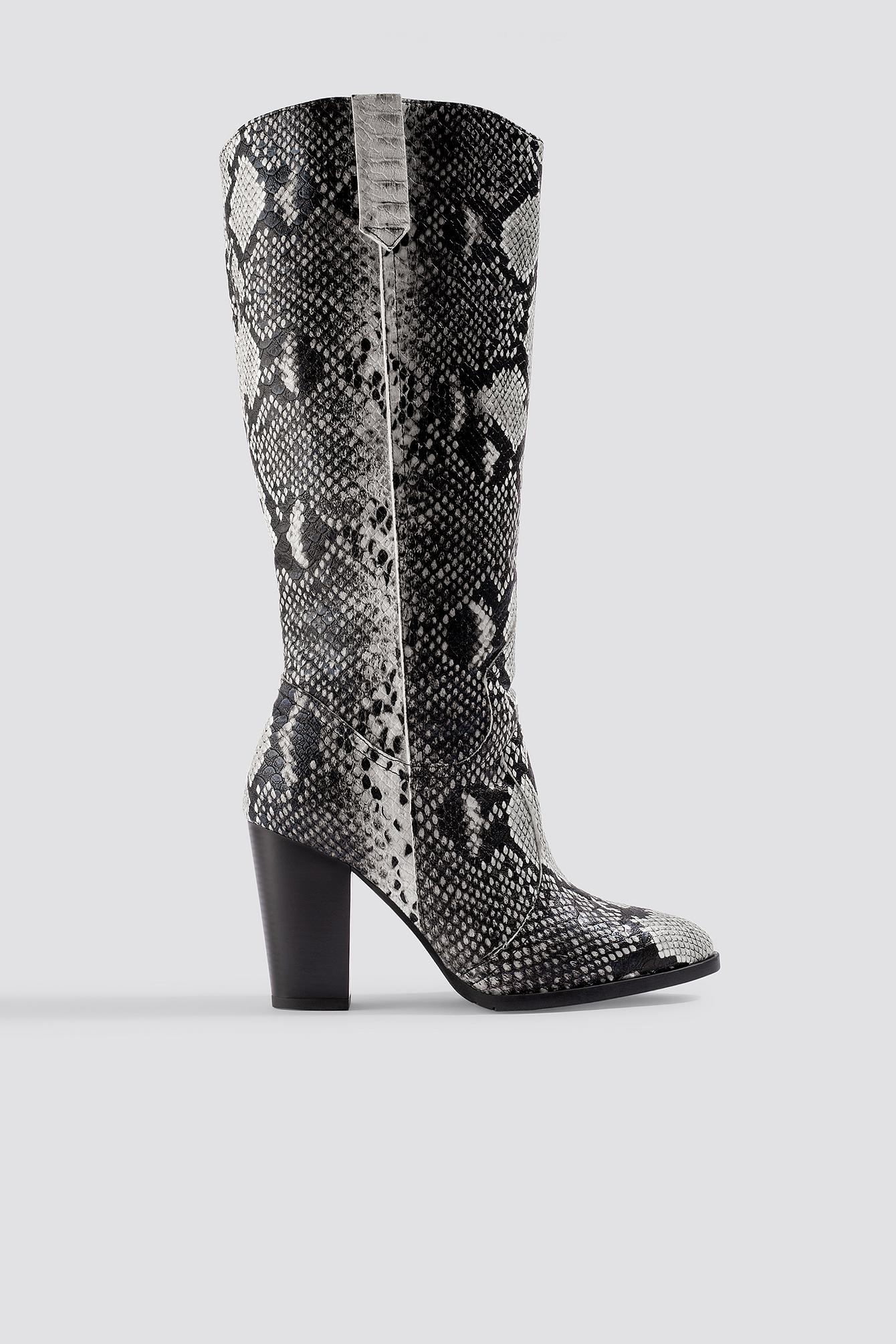 trendyol -  Snake Patterned Boots - Black,White,Multicolor