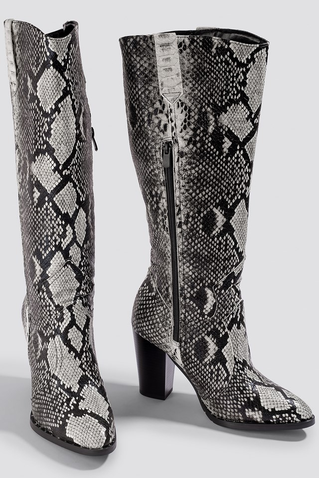 Snake Patterned Boots Black