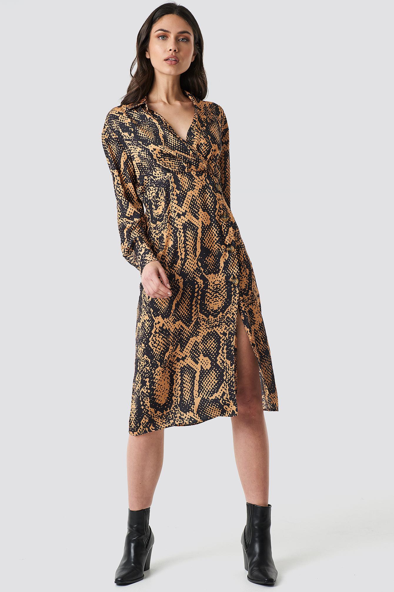 trendyol -  Snake Patterned Midi Dress - Orange
