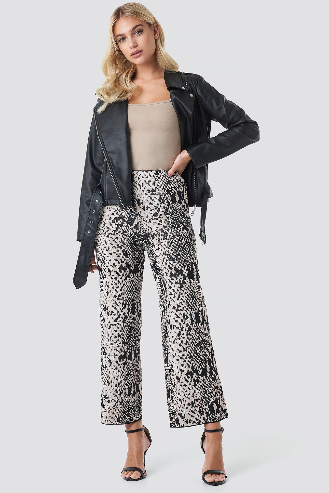 trendyol -  Snake Patterned Pant - Grey,Multicolor