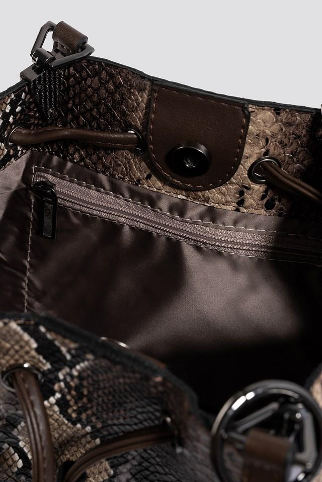 Snake Patterned Shoulder Bag Brown
