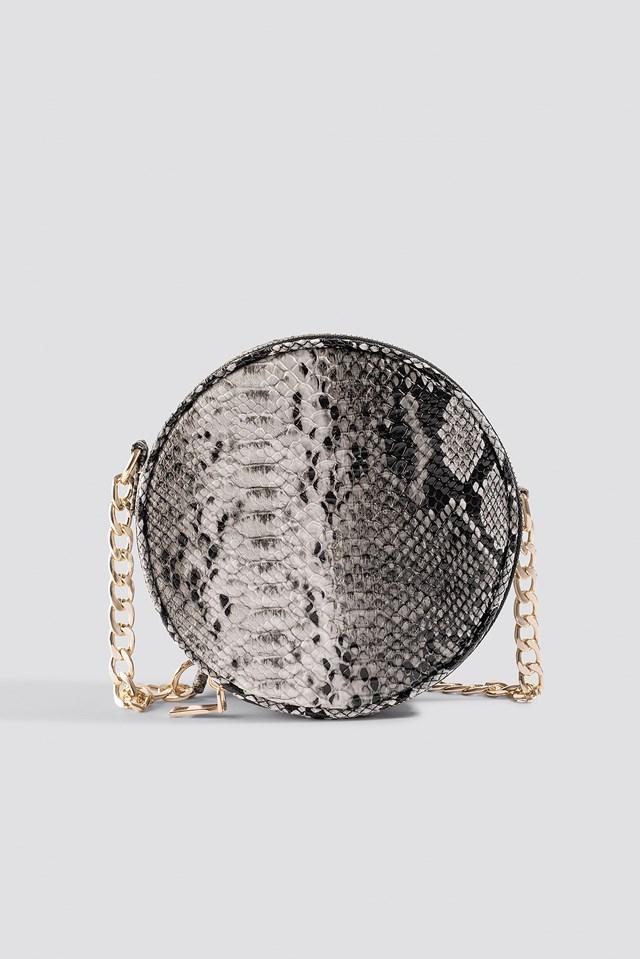Snake Patterned Shoulder Bag Beige