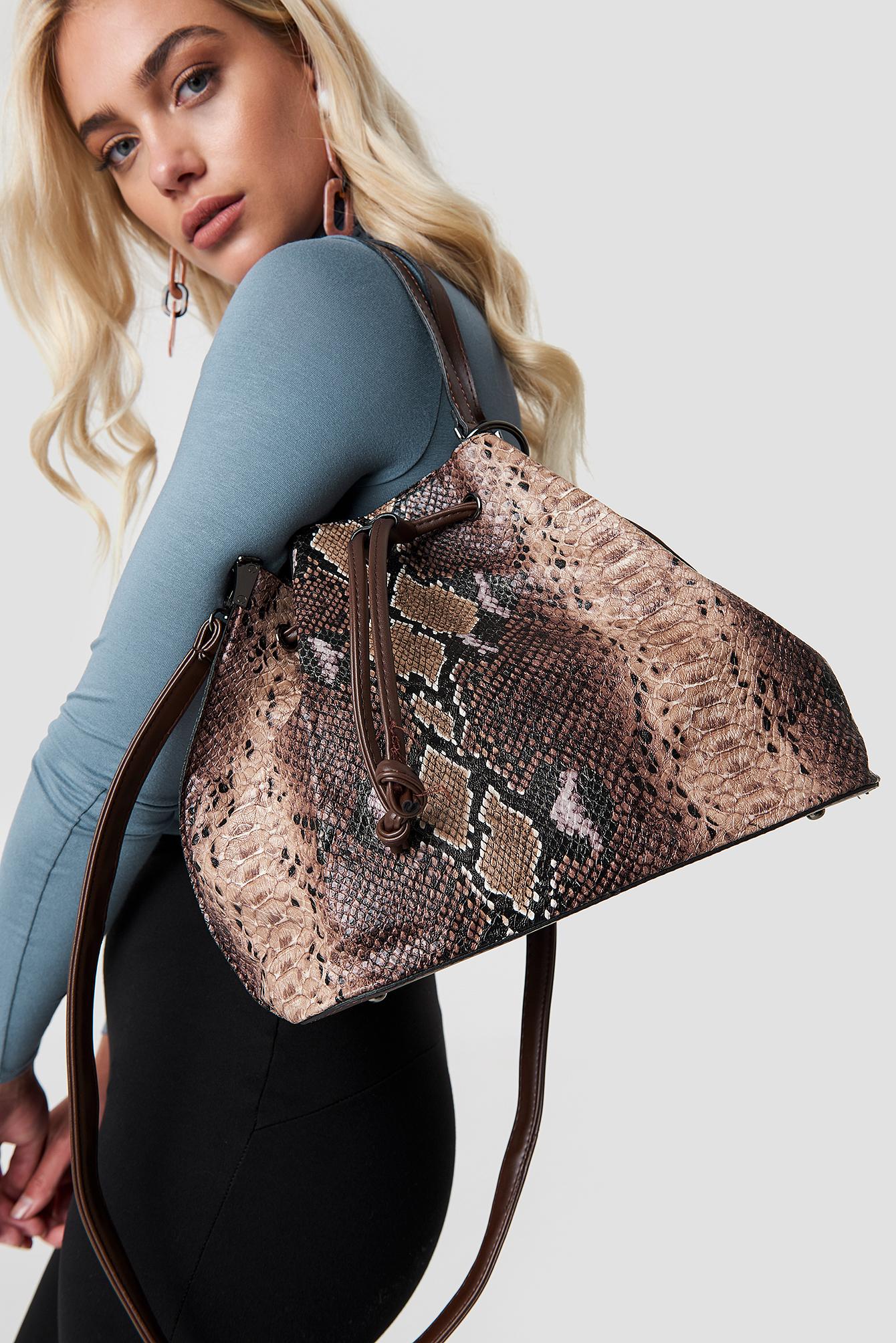 trendyol -  Snake Patterned Shoulder Bag - Brown,Multicolor