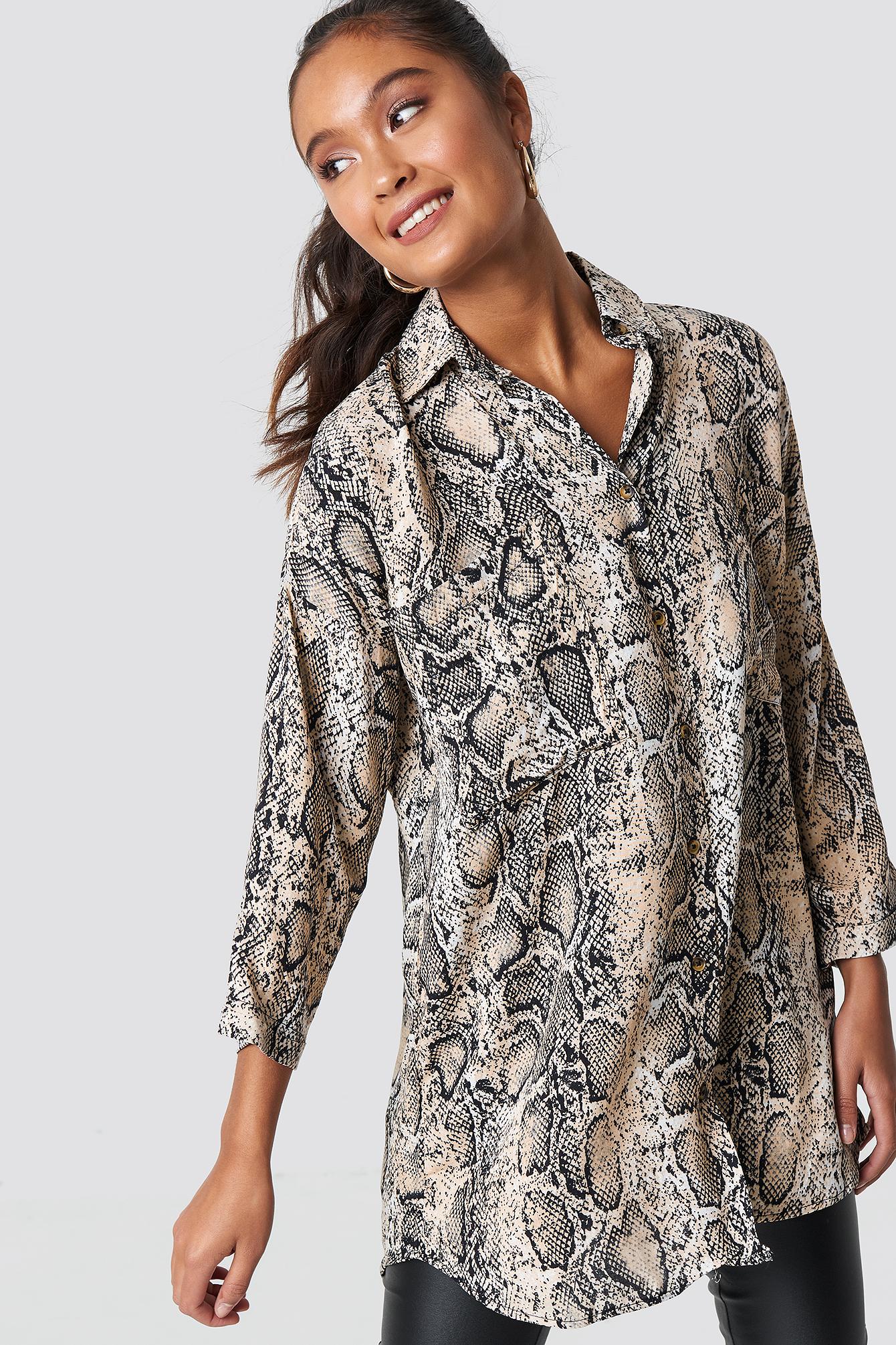 trendyol -  Snakeskin Pattenerd Shirt - Beige