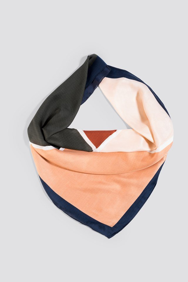 Square Detail Scarf Navy