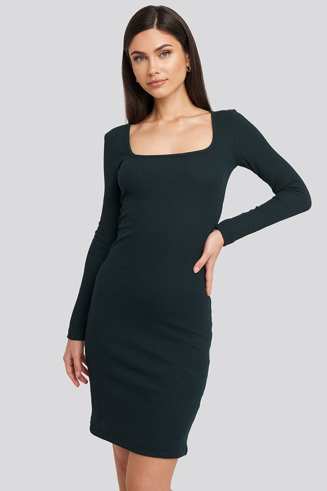 Square Neck Jersey Dress Green