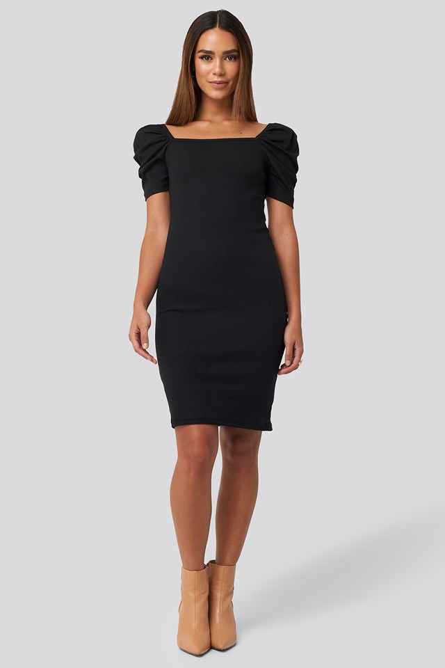 Square Neck Puff Sleeve Knitted Mini Dress Black