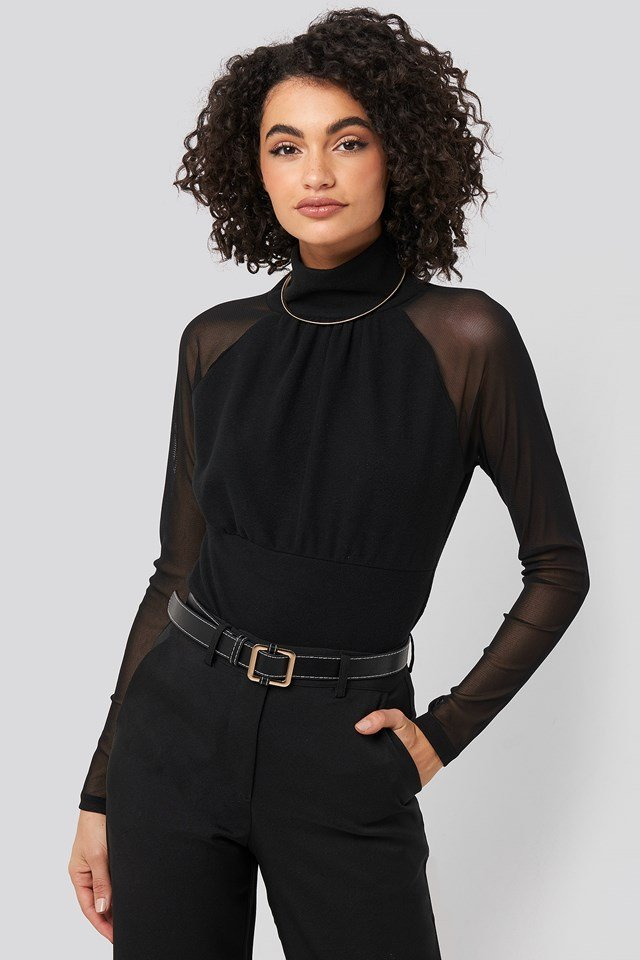 Stand Collar Sheer Blouse Black