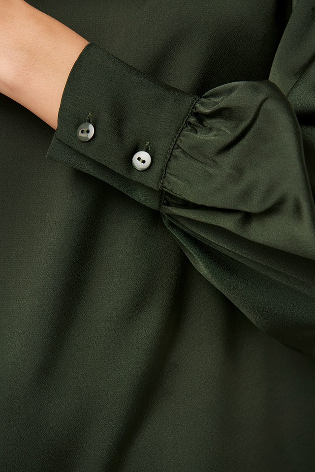 Standing Collar Blouse Khaki