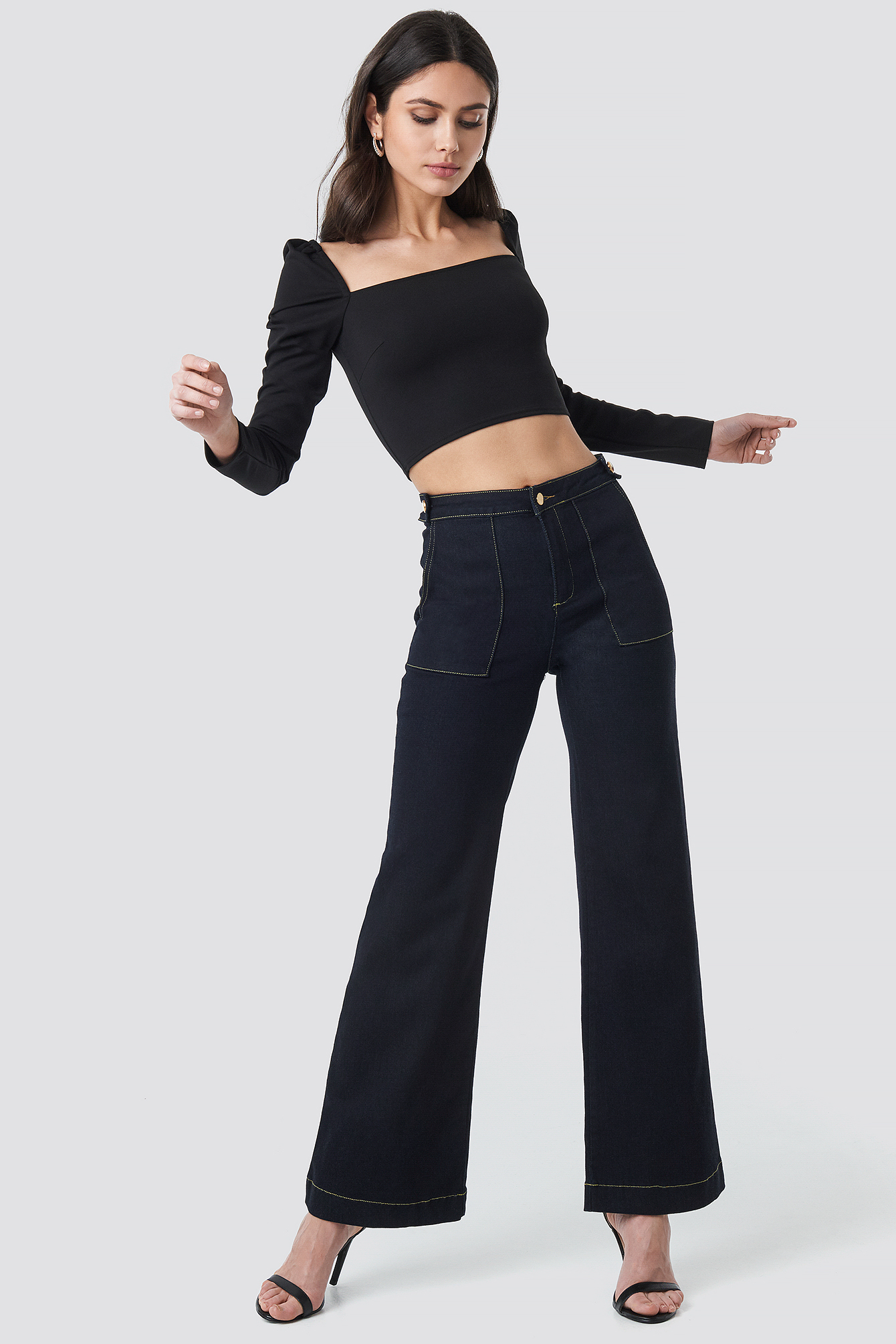 trendyol -  Stitch Detail High Waist Wide Jeans - Blue