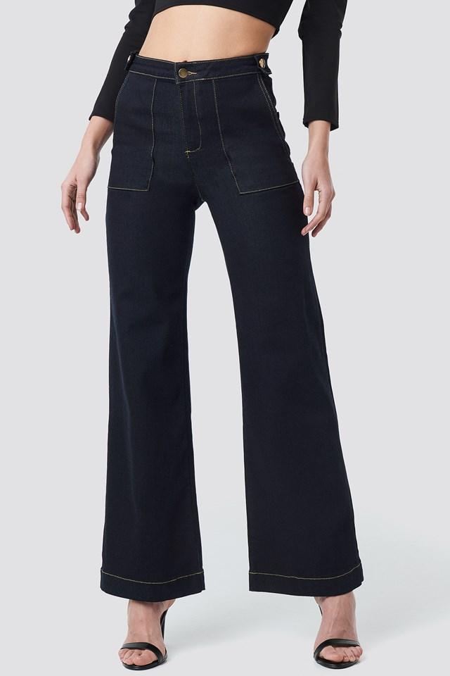 Stitch Detail High Waist Wide Jeans Navy