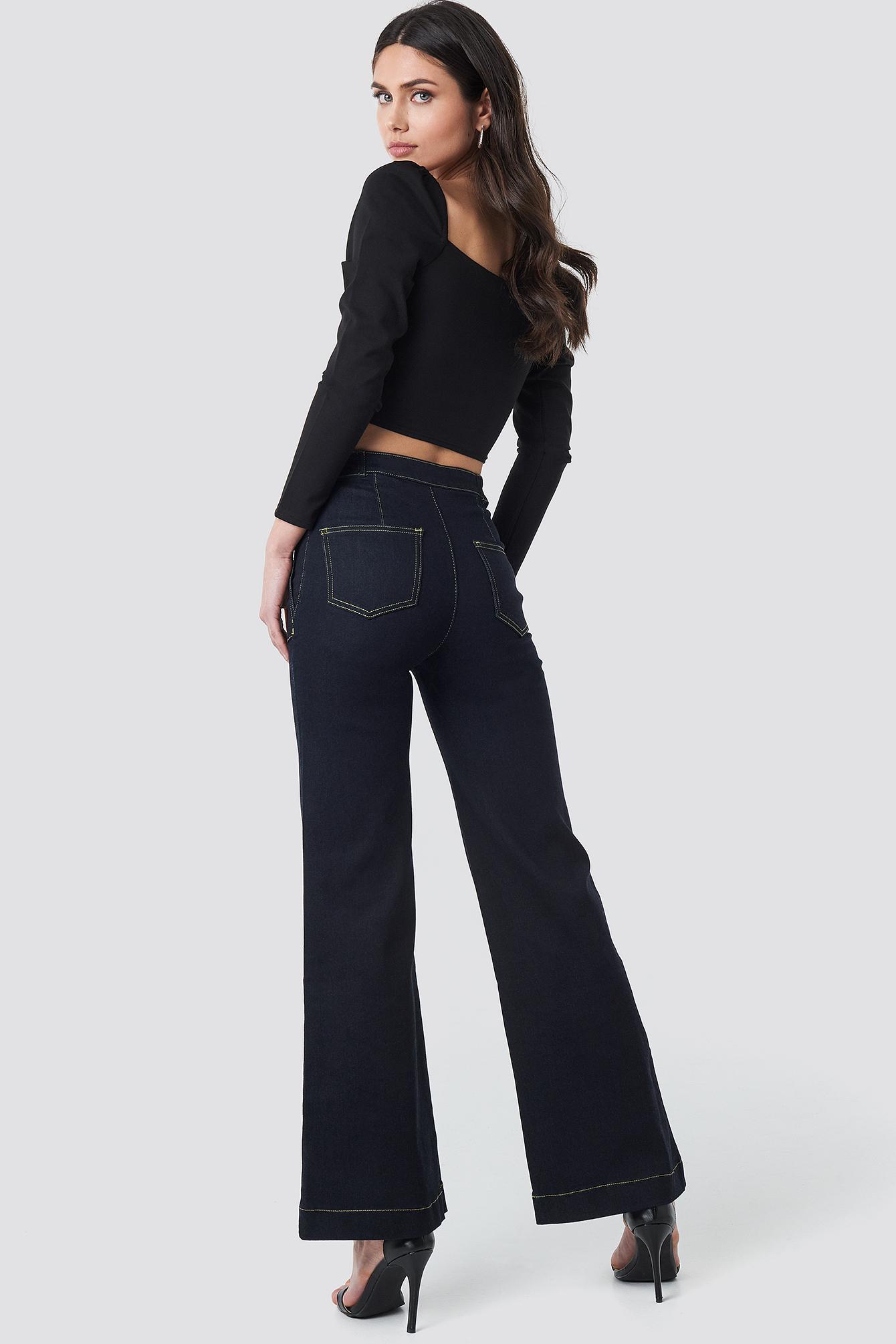 Stitch Detail High Waist Wide Jeans NA-KD.COM
