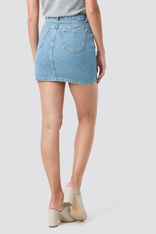 Stitch Detail Mini Denim Skirt Blue