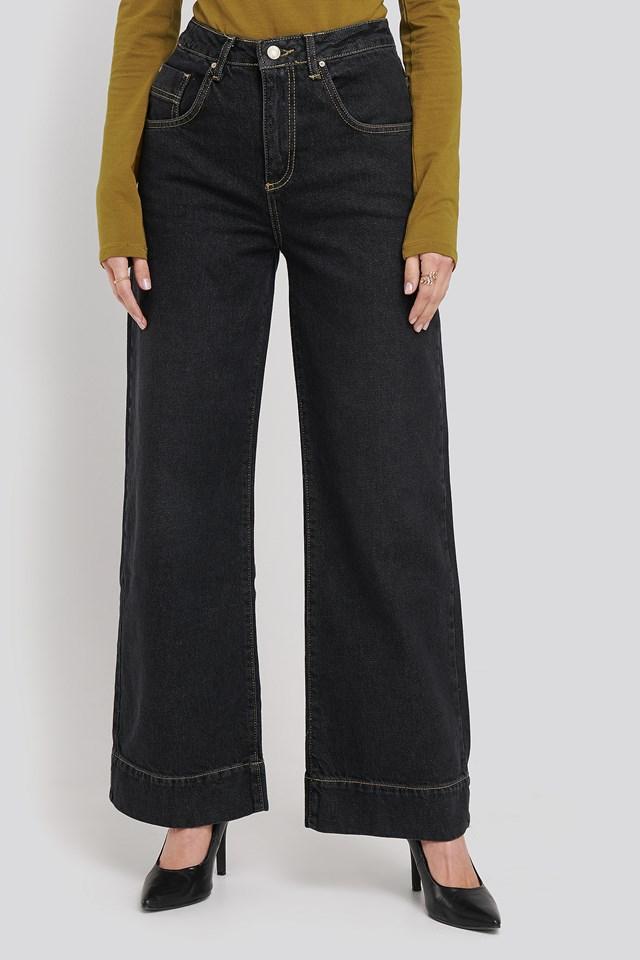 Stitching High Waist Wide Leg Jeans Black